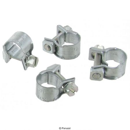 Mini slangklemmen (4 stuks) Klembereik: 10-11 mm Breedte: 9 mm Wrenchmaat: 6 mm